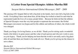 Martha Hill Letter