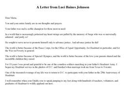 Luci Baines Johnson Letter