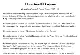 Bill Josephson Letter